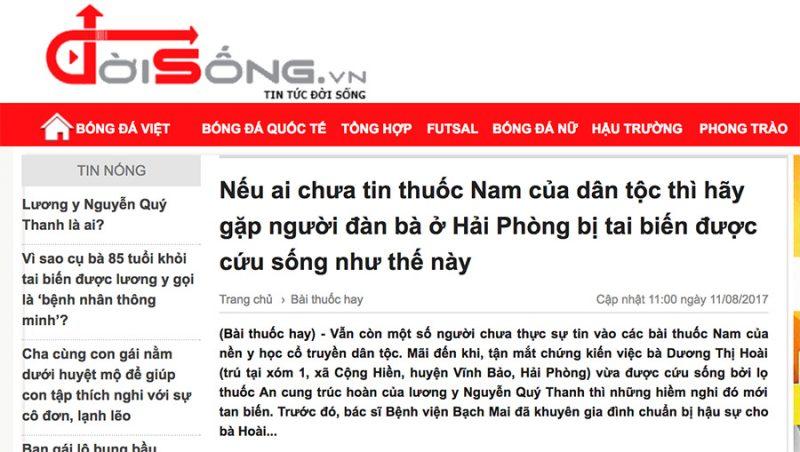 Bài viết về An Cung Trúc Hoàn Nguyễn Quý Thanh trên báo Đời Sống