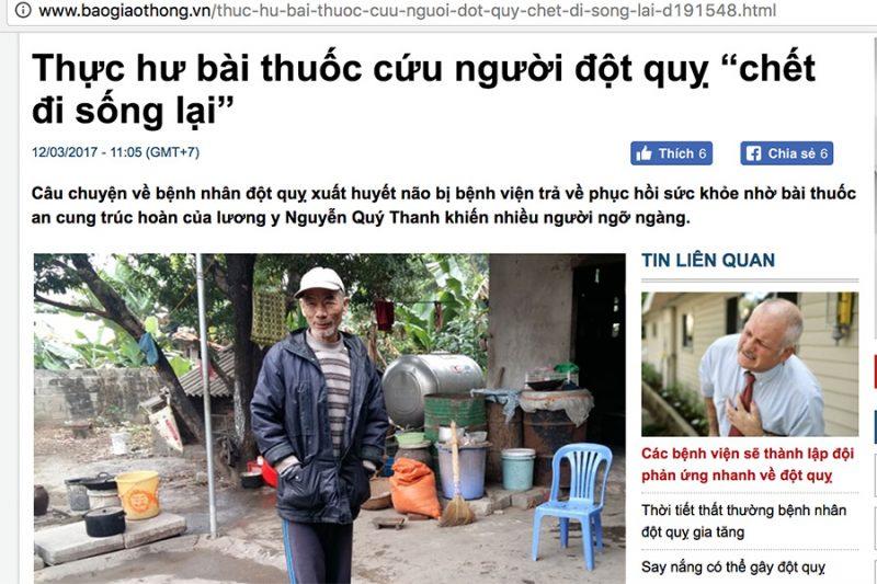 Bài viết về An Cung Trúc Hoàn Nguyễn Quý Thanh trên báo Giao Thông