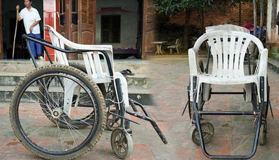 Chiếc xe lăn của ông Hai giờ đã hoàn thành nhiệm vụ